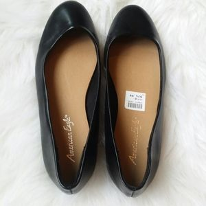 Anerican Eagle Clinton Black Faux Leather Flats 6
